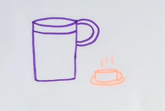 字母p能画成什么简笔画呢?下面就一起来画一画吧! 字母p就是水杯的把手,杯子的上方圆有些素描透视里面的画法,一个尖尖的椭圆。 在画上一个小小的咖啡杯,三条曲线就是热气腾腾的感觉了。 小朋友上手就会画的简笔画完成了,点击观看杯子简笔画视频教程,一起画起来吧,喜欢涂颜色的小朋友,画上自己喜欢的颜色吧!