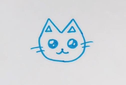 这次画的是一只可爱的猫咪简笔画,和自己的宝贝一起画一画吧。 猫咪的双眼是最动人的地方,耳朵是两个三角形的形状,胡须是必不可少的。 就简单几笔就可以画成可爱猫咪表情简笔画,是不是很好玩! 欢迎点击观看可爱猫咪简笔画视频教程哦!