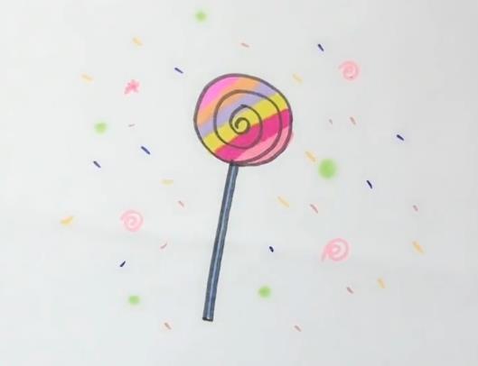 棒棒糖简笔画图片 数字1画棒棒糖画法视频教程