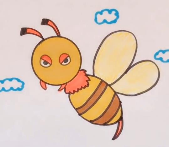 小蜜蜂简笔画图片 彩色蜜蜂画法视频教程