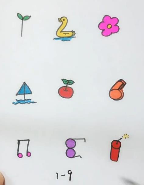 数字简笔画图片 1到9简笔画画法视频教程