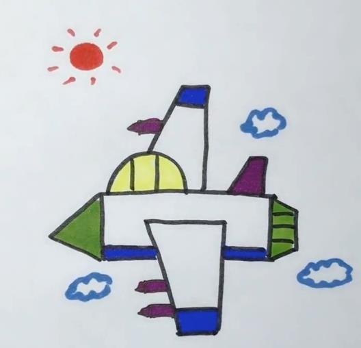 飞机简笔画图片 航天飞机画法视频教程