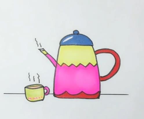 茶壶简笔画图片大全 茶壶茶杯画法视频教程