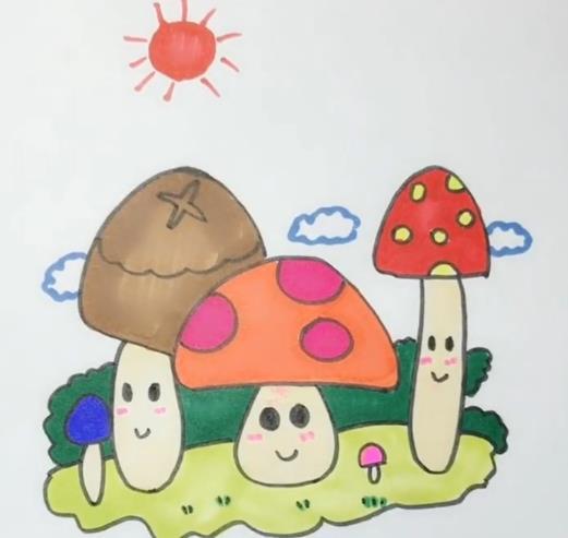 蘑菇简笔画图片 彩色蘑菇画法视频教程