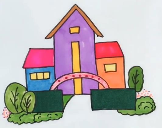 房子简笔画图片 彩色房子简笔画视频教程