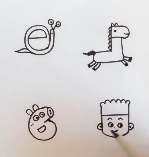 英文字母eFGH创意简笔画图片 小男孩 蜗牛 小猪佩琪 小马